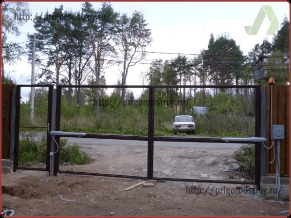 Каркас ворота распашные с калиткой