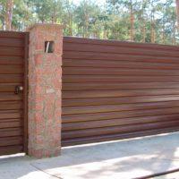 Ворота и калитка из горизонтального профнастила